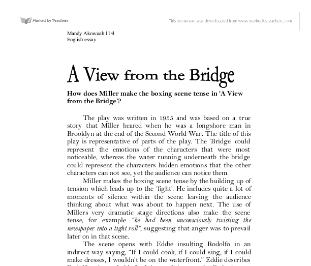 "a view from the bridge 8 essay The play ""a view from the bridge"" by arthur miller centres's around the carbone family who live in red hook, brooklyn the play focuses."