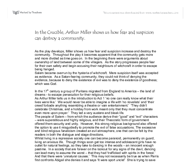 an analysis of fear and insecurity in the crucible by arthur miller The crucible theme(s) analysis essay in the crucible, arthur miller the play strongly illustrates the hysteria that brushed through salem because of the fear.