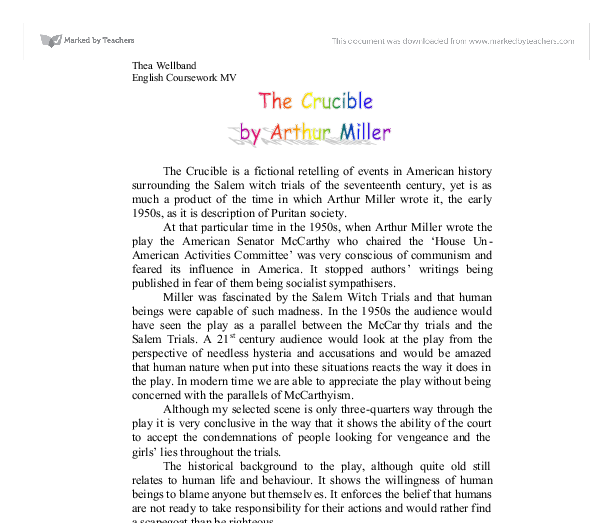 an analysis of the society in the crucible a play by arthur miller The crucible by arthur miller in his autobiography timebends, arthur miller states, if the play (the crucible) during the theocratic 17 th century society.