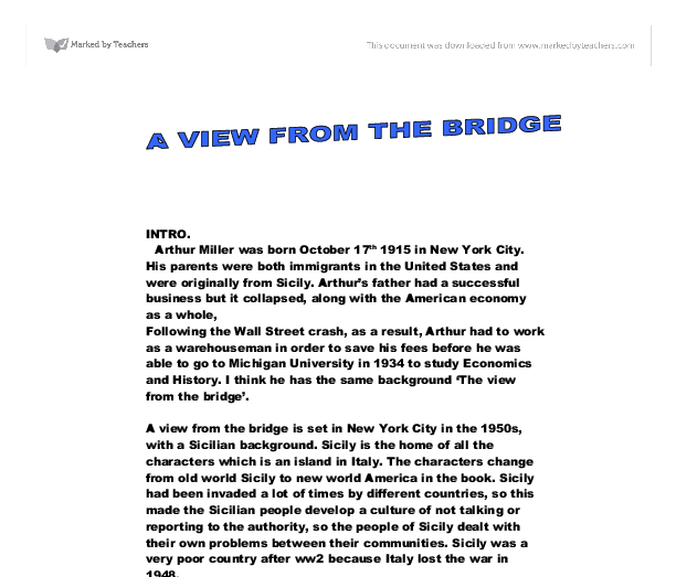 Arthur miller a view from the bridge essay