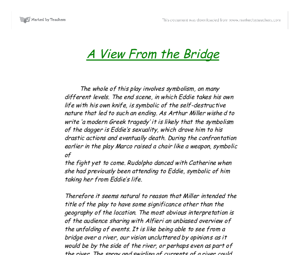 the use of symbolism in a view from the bridge by arthur miller A m a view from the bridge by arthur miller this guide is written for teachers and students who are studying arthur miller's play a view from the bridge.
