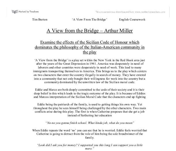 A view from a bridge essay plan