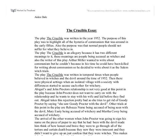 the crucible essay thesis statements
