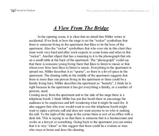 view from a bridge response essay Get in touch with us and we will make sure that your a view from the bridge essay is educative, interesting and unique.