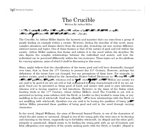conclusion paragraph essay crucible The following literature paper example is about a tragic hero john proctor in a  play the crucible by american playwright arthur miller read on.