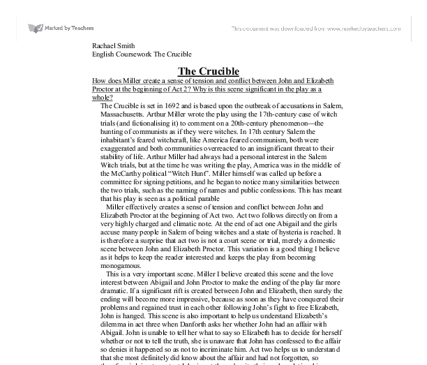 The crucible conflict essay