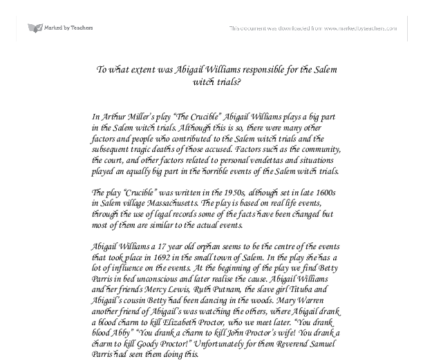 The salem witch trials essay the m witch trials research paper