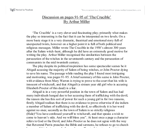 an analysis of the topic of the crucible by arthur miller Explore popular essay topic ideas categorized by keyword here's a list of the crucible essay topics  arthur miller's play, the crucible.