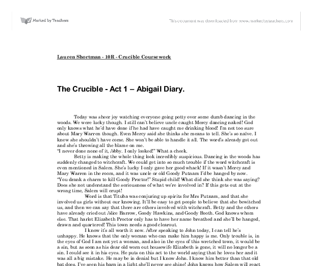 abigail essay the crucible Elizabeth proctor and abigail williams are two important women in the crucible they are basically opposite of each other, which makes their characters vital to the story both elizabeth's and abigail's roles in the story can be determined by comparing.