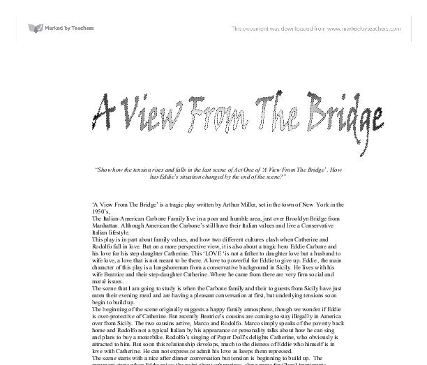 a view from the bridge essay on tension
