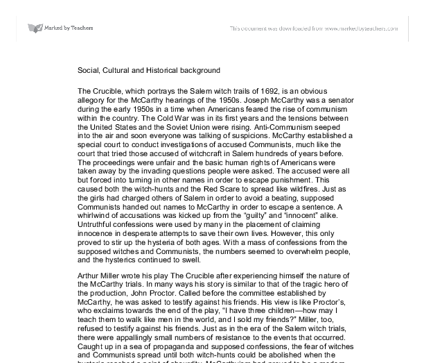 My School Essay In English In The S People Were Accused Of Being Sympathetic To And Involved  With Communism Prior Hearings Of The Salem Witch Trials Were Carried Out In   Example Of Essay With Thesis Statement also How To Write An Essay Thesis Mccarthyism And The Salem Witch Trials Essays Of Elia  Grand Essay  General Paper Essay