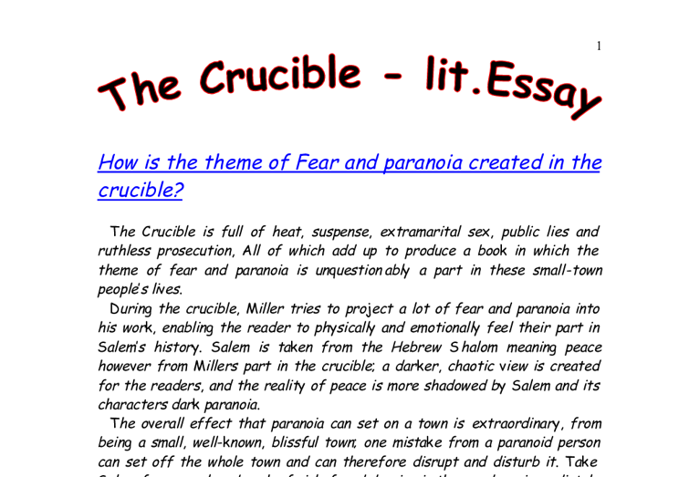 how is the theme of fear and paranoia created in the crucible  document image preview