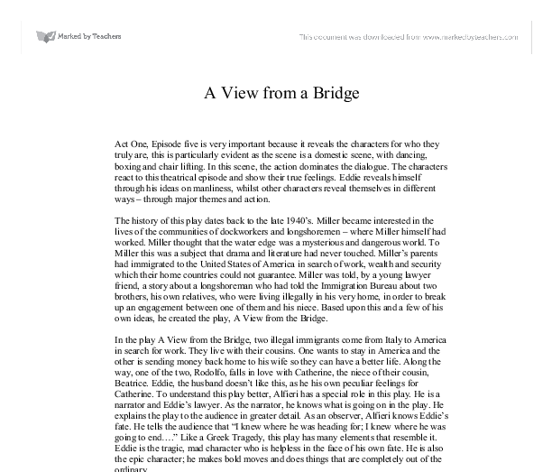 a view from the bridge 41 essay A view from the bridge has 8,272 ratings and 368 reviews duane said: miller wrote over three dozen stage plays in his career and this one is considered.