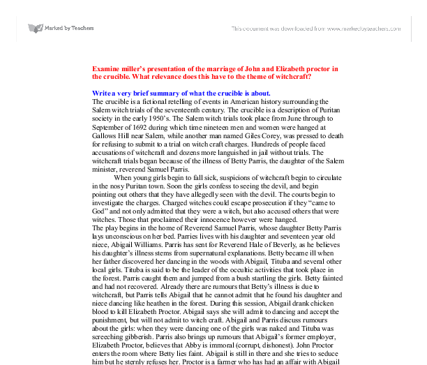 "essay about john proctor in the crucible The crucible john proctor's major change one of the characters in ""the crucible"" that undergoes a major change is john proctor proctor is one of the most."