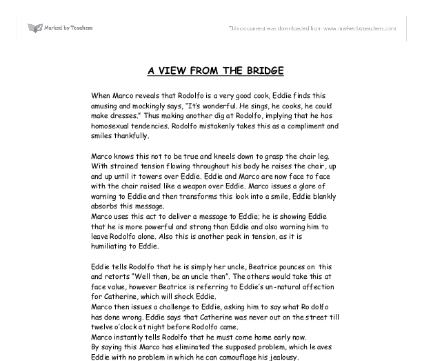 a view from the bridge 24 essay A plan and essay on the presentation of eddie and catherine's relationship in a view from the bridge a plan and essay on the presentation of eddie and catherine's relationship in a view from the bridge eddie and catherine relationship in a view from the bridge.