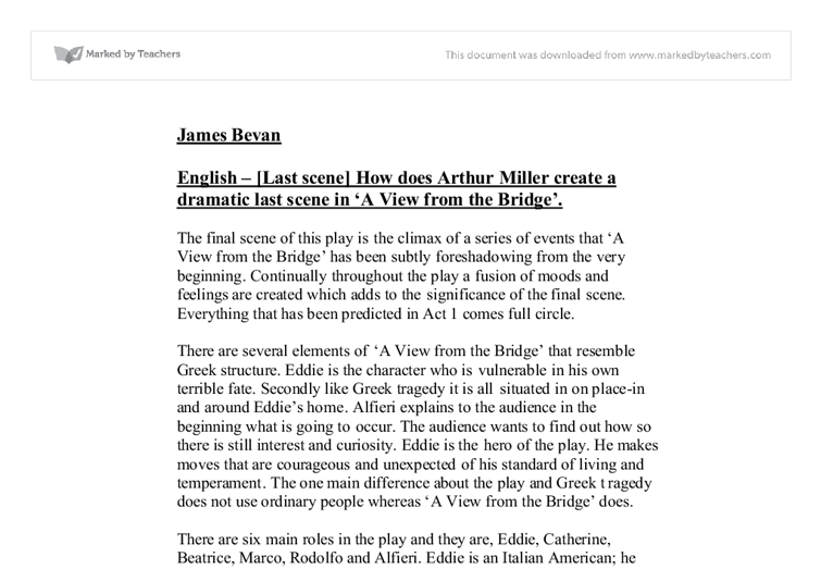 english a view from the bridge essay A view from the bridge what period of time would you estimate is covered in this essay i a view from a bridge is organized through transitional english.
