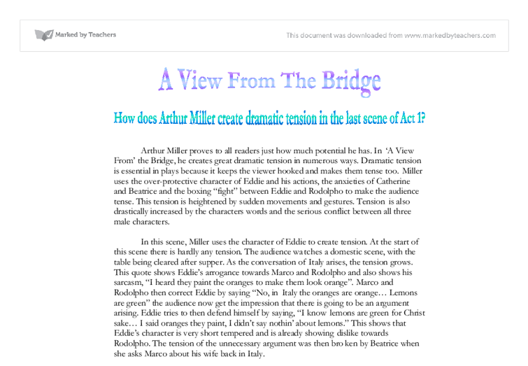 a view from the bridge gcse coursework Inspired now by the true story of a brooklyn dockworker who informed on two illegal immigrants, miller reconceived the hook as a view from the bridge to give an essay on the subject some kind of plan, you need to write a section on as many of the following as you think you understand: the structure of the play in.