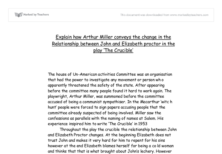 The crucible essay - relationship between john and elizabeth proctor