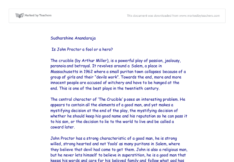 is john proctor a fool or a hero gcse english marked by  document image preview