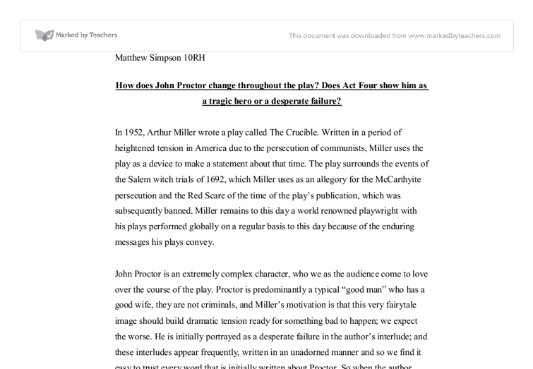 how does john proctor change throughout the play does act four  document image preview