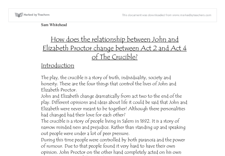 how does the relationship between john and elizabeth proctor  document image preview