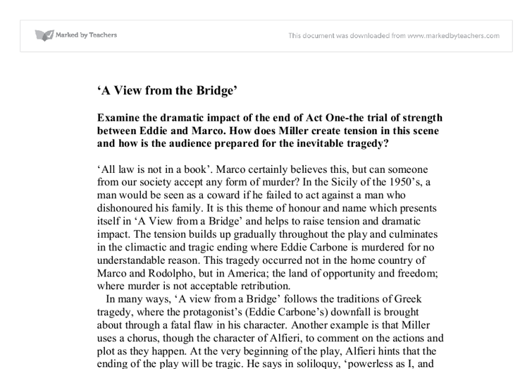 A view from the bridge gcse essay