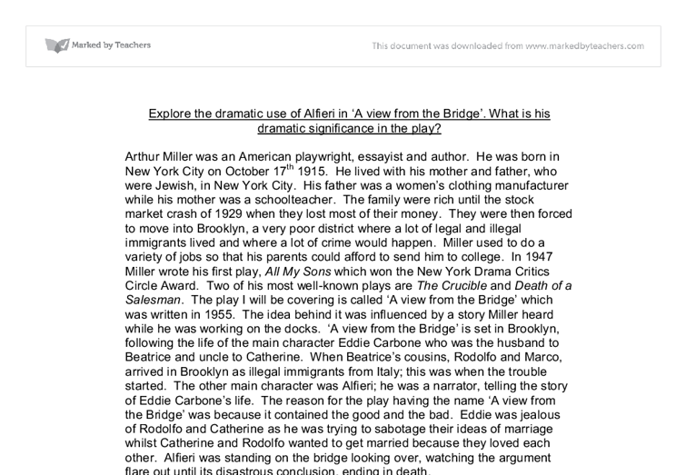 a view from the bridge coursework help A view from the bridge essay  what does the bridge in view from the bridge  literature coursework-modern drama what is the dramatic function of alfieri's.