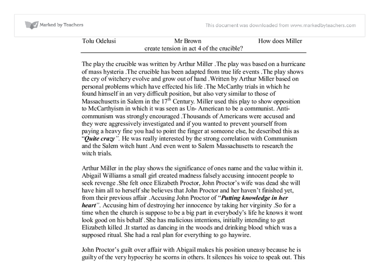 essay on the crucible act 1 The crucible essays plot overview in the puritan new england city of salem, massachusetts, a group of women is going dancing in the wooded area with a black slave named tituba whilst.