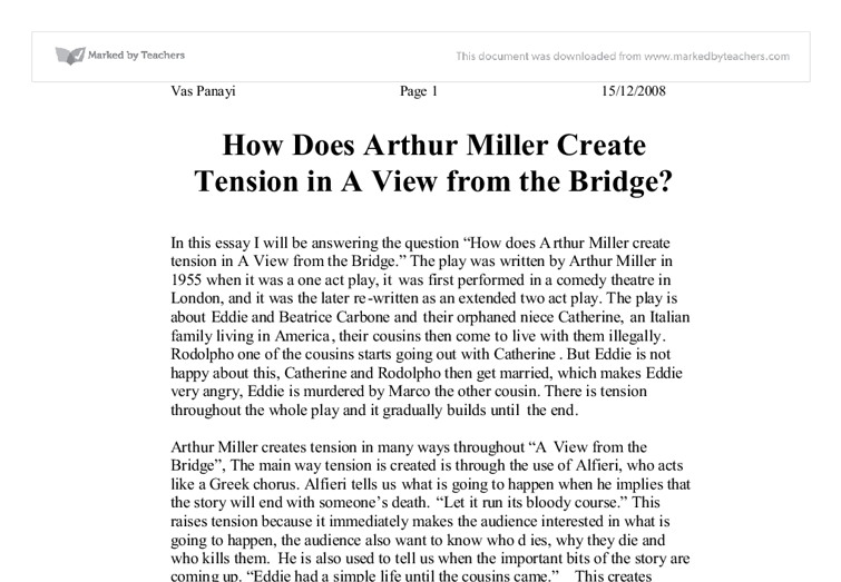 why does arthur miller call his play a view from the bridge essay Miller's first play to make it to broadway when he was called to testify before the house un a view from the bridge is one of arthur miller's most.