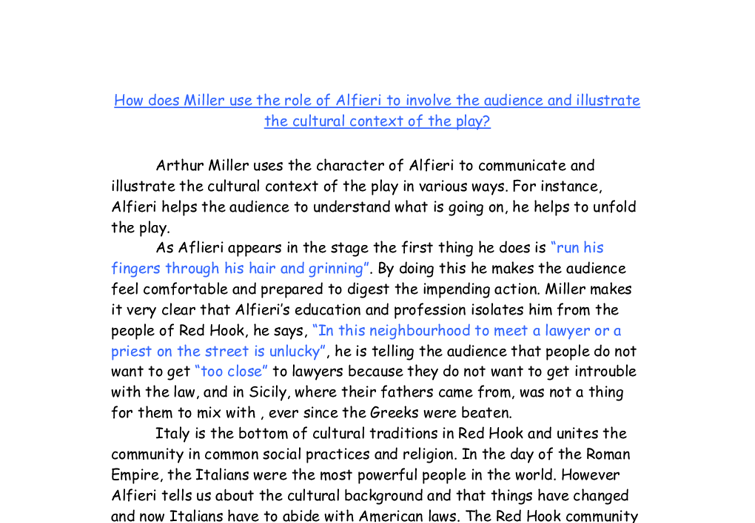 the role of alfieri in the play essay Alfieri appears throughout the play, acting out different role sparknotes: a view from the bridge: study questions there are several elements of a view from the bridge that resemble greek drama eddie is the tragic, mad character who is helpless in the face of his own terrible fate.
