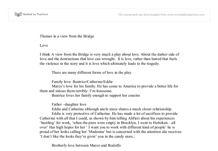 theme of love in a view from the bridge gcse english marked by  document image preview
