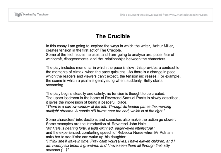 the crucible ways in which arthur miller creates tension in the  document image preview