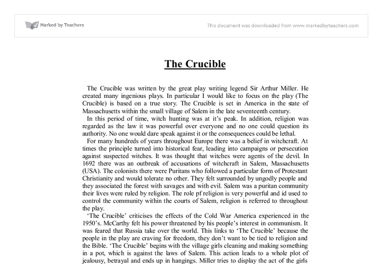 the crucible gcse essay questions Essay on the crucible - gcse english coursework: the crucible my account preview bible was the ultimate answer to any question when something went.