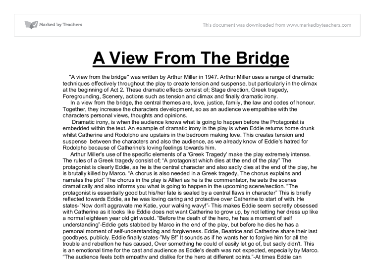 a view from the bridge gcse essay questions A view from the bridge essay – gcse english  a view from the bridge: study questions and suggested essay topics and study questions for arthur miller's a view.