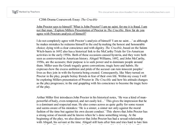 essay on john proctor and elizabeth The crucible john proctor essay elizabeth conveyed to proctor that she had already forgiven him, but it was he who kept on judging himself continuously.