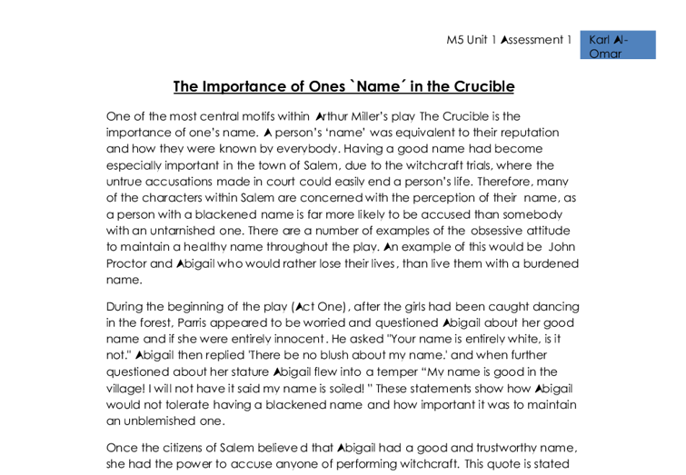 the importance of ones name in the crucible  gcse english  document image preview