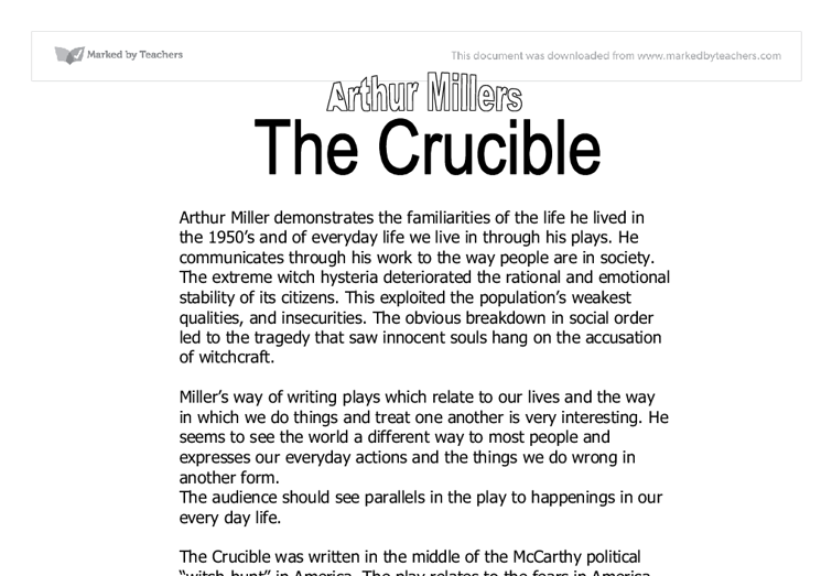 an analysis of the historical accuracy of arthur millers play the crucible By closely reading historical documents and attempting to interpret them, students consider how arthur miller interpreted the facts of the salem witch trials and how he successfully dramatized them in his play, the crucible.