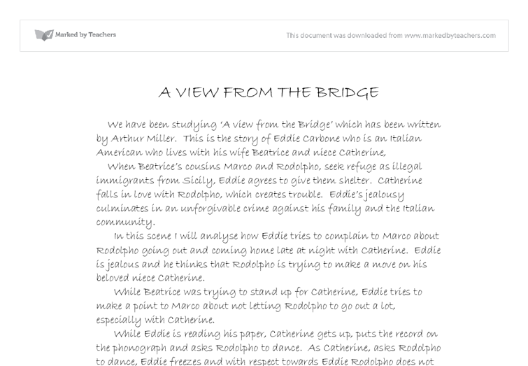 a view from the bridge 35 essay
