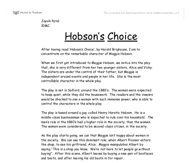 hobson analysis essay Hobson's choice – progressive and essay questions 24  3 introduction hobson's choice hobson himself is punished for his reliance on his.
