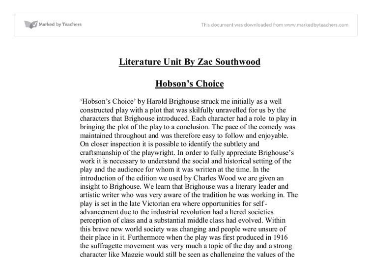 hobsons choice assignment essay