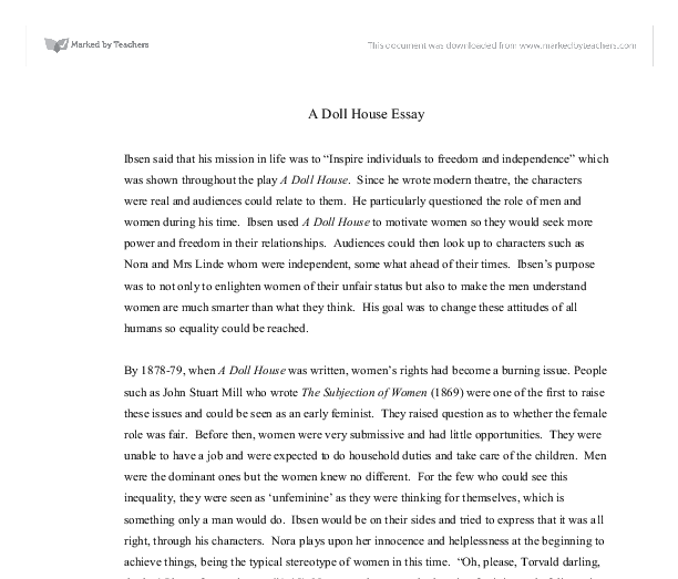 English Essays Examples Document Image Preview Essays For High School Students also Persuasive Essay Topics High School Students A Doll House Essay  Gcse English  Marked By Teacherscom A Modest Proposal Essay Topics