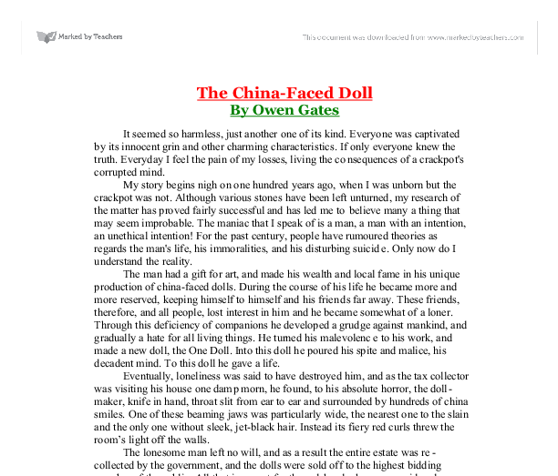 the china faced doll essay The barbie doll culture essays a barbie doll is one of the famous cultural icons in america numerically, there are 25 barbies for every household in america but what does barbie doll.