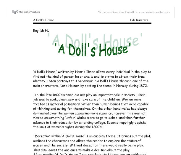 an analysis of the character of helmer in henrik ibsens the dolls house