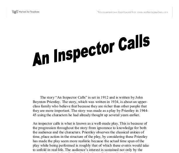 "an analysis of an inspector calls by john boynton priestley John boynton priestley was born in 1894 in bradford in the play ""an inspector calls"" by j b priestley an analysis of the inspector in 'an inspector."