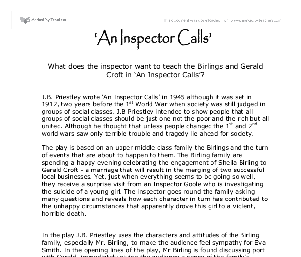 gerald croft essay Arthur represents envy in 'an inspector calls', because he envies gerald croft and wants to be like him, in the play he says, 'feels you may have done better for yourself socially' pride is considered the most original and most serious out of the seven deadly sins, and indeed the ultimate source from which the others arise.