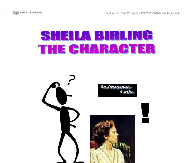 an inspector calls character profile essay An inspector calls, character changes essay an inspector calls it is arguable that sheila has changed the most throughout the play.