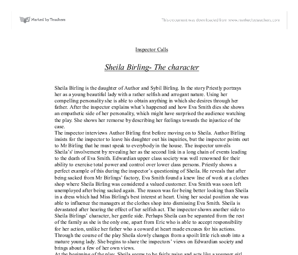 inspector calls sheila birling essay 【 an inspector calls essay 】 from best writers of artscolumbia largest assortment of free essays find what you need here  i could help her now, i would that is how the character of sheila birling was involved in eva smith's suicide.