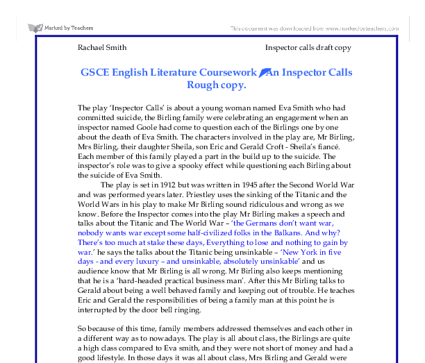 gcse english inspector calls essay Essay title in act one of 'an inspector calls' how does jb priestley use dramatic devices to convey his concerns to the audience, as well as interest and.