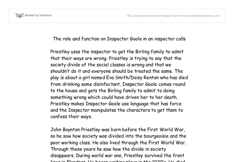 the role and function of inspector goole english literature essay The function of an inspector calls english literature essay an inspector calls essay - uk essays | ukessays inspector goole is the eponymous character in an inspector calls the inspector in an inspector calls english literature essay.