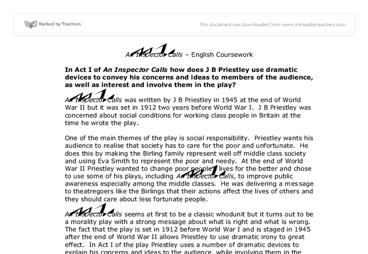 What makes inspector calls a successful play essay